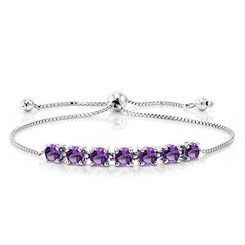 Purple Amethyst 925 Sterling Silver Adjustable Bracelet 2.52 Ctw Gemstone (Ctw Amethyst Bracelet)
