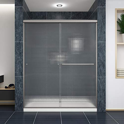 "SUNNY SHOWER Frosted Shower Door Semi-Frameless Glass Sliding Bathroom Door with 1/4"" Frosted Glass, Brushed Nickel Finish, 60"" W x 72"" H Double Sliding Shower Screen"