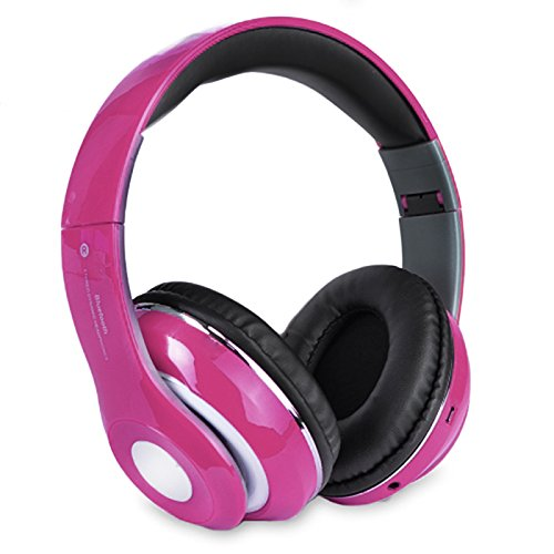 Altatac Bluetooth Rechargeable Over Ear Headset Foldable Wireless Wired Headphones with Memory Card Slot Built-in FM Tuner Microphone Audio Cable for Phone TV Computer MP3 Player - Pink