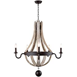 "29"" Wine Barrel Wood Ceiling light fixture Pendant chandelier Vintage French Country Wooden Metal Rustic Castle Estate"