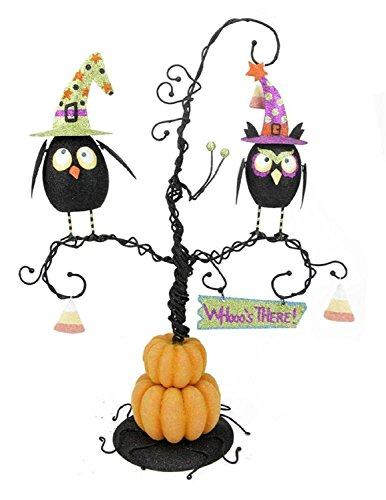 Kurt Adler Whooo's There Owls Perched on a Spooky Pumpkin Tree Halloween Table Top Decoration 16.5