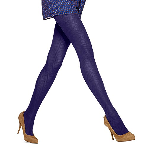 HUE Chevron Quilted Tights With Control Top (Medium/Large, Purple)