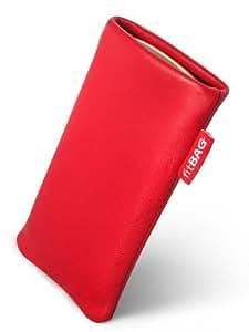 fitBAG Beat Rojo - Funda a medida, Exterior de cuero Napa genuino con forro de microfibra, para Nokia 2330 Classic