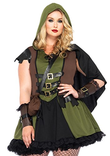 Female Robin Hood Costumes (Leg Avenue Women's Plus-Size 3 Piece Darling Robin Hood Costume, Hunter Green, 1X/2X)