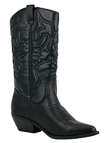 SODA Women Cowgirl Cowboy Western Stitched Boots Pointy Toe Knee High Reno (7.5, Black)