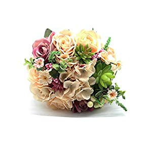 Yokoke Wedding Bridal Bridesmaid Bouquet Wedding Holding Flower Artificial Peony Rose Green Succulent for Wedding Church Party Home Decor 106