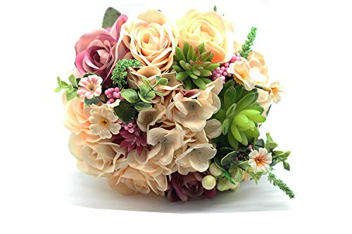 Yokoke Wedding Bridal Bridesmaid Bouquet Wedding Holding Flower Artificial Peony Rose Green Succulent for Wedding Church Party Home Decor]()