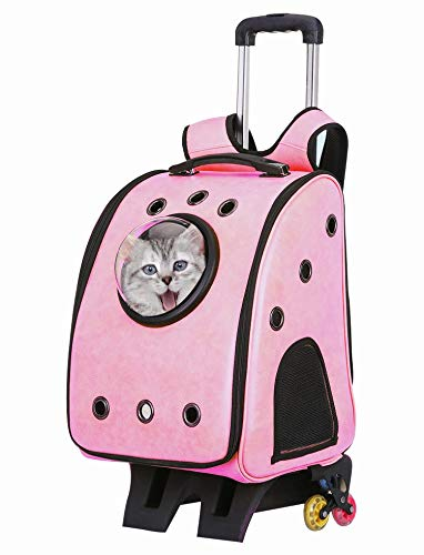 Pink yPet Portable Bubble Pet Travel Backpack,Cat Dog Puppy Travel Hiking Camping Pet Carrier Backpack, Space Capsule Bubble Design, Pu leather + oxford fabric