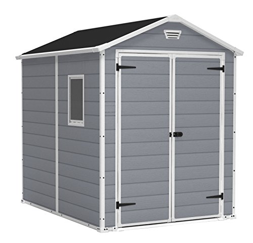 Keter Manor Large 6 x 8 ft. Resin Outdoor Backyard Garden Storage Shed (Storage Outdoor Yard Shed)