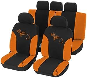 Unitec 84949 Reptilia - Funda para asiento de coche (para todos los asientos), color negro y naranja