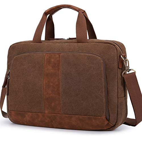 ECOSUSI Messenger Bag Waxed Canvas Briefcases for Men Laptop Bag 17.3 inch Satchel Shoulder Bag Water-Resistant for Business Work School, Brown