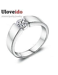 Myn Jewelry CZ Wide Ring Set Men Jewelry Silver Wedding Ring Bague Homme Anel Masculino Feminino J002