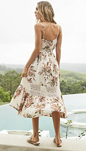 Summer Lace Midi Strap Dress Floral Neck V Jelly Button Womens Spaghetti Blooming Boho Down Deep Beige Eq1g7Oc