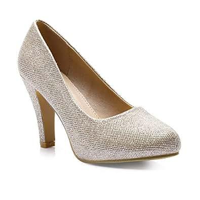 Trary Women's High Heel Dress Platform Pump Shoes Gold Glitter 05