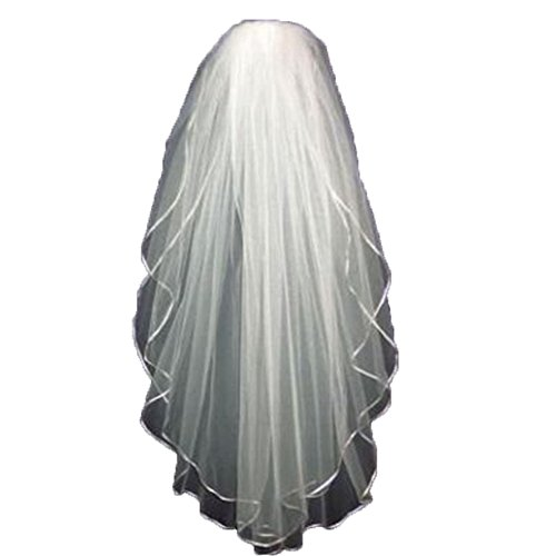 XSWPL 2 Tier White Ribbon Edge Wedding Bridal Veil Short with Comb