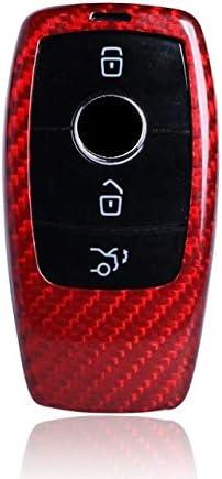 FGJIHB SchlüsseletuiKohlefaser autoschlüssel case Abdeckung für Mercedes Benz Neue e klasse e200 e260 e300 e320 w213 autoschlüsselanhänger zubehör Auto Styling, rot