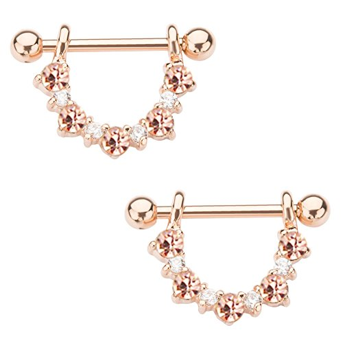 (14g 1/2 Rose Gold PVD Plated Half Circle Nipple Jewelry (Rose Gold with Clear and Champagne CZ))