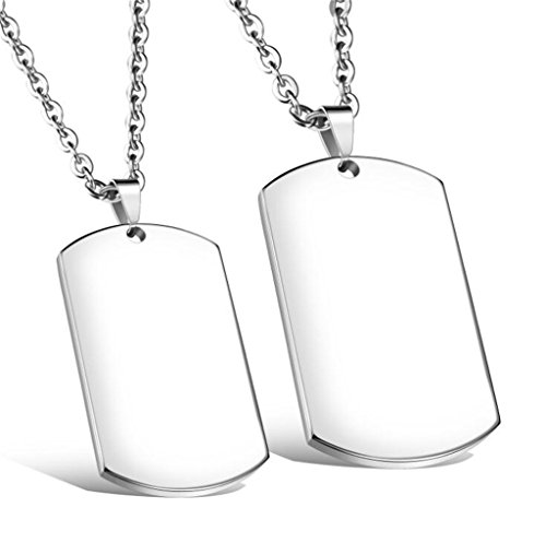 Lenrunya Jewelry Silver-tone 2 PCS Stainless Steel Blank Pendant Necklace Double Dog Tag