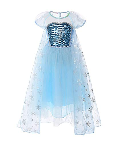 MOREMOO Girl Princess Elsa Costume Sequin Mesh Party Dress Sleeve(Short Sleeve 3T) ()