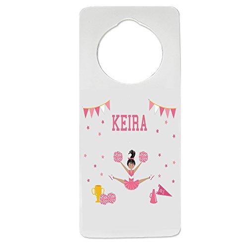 Personalized Cheerleader Black Hair Pink Nursery Door Hanger by MyBambino