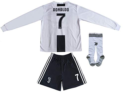 GamesDur 2018/2019 Cristiano Ronaldo #7 Home Long Sleeve Soccer Kids Jersey & Short Set Youth Sizes (Home, 6-7 Years) ()