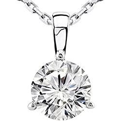 0.45 Near 1/2 Carat 14K White Gold Round Diamond Solitaire Pendant Necklace 3 Prong J-K Color I2 Clarity