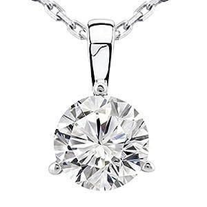 0.45 Near 1/2 Carat 14K White Gold Round Diamond Solitaire Pendant Necklace 3 Prong J K Color I2 Clarity