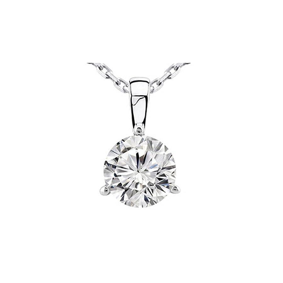 Near 1 Carat 14K White Gold Round Diamond Solitaire Pendant Necklace 3 Prong J K Color I2 Clarity