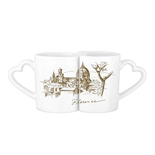 Florence Coffee - Florence Cathedral Italy Florence Landmark Pattern Lovers' Mug Lover Mugs Set White Pottery Ceramic Cup Milk Coffee Cup with Handles