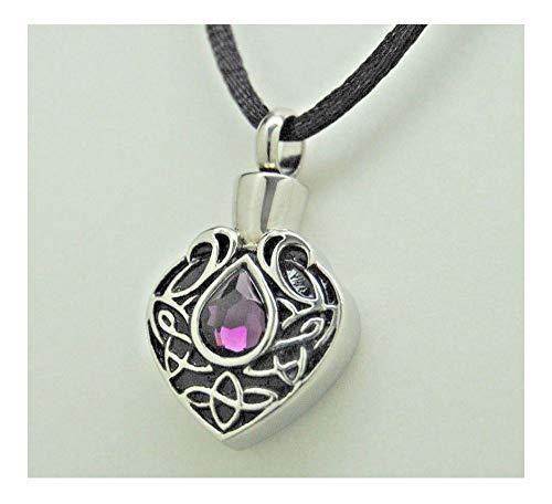 - Cremation Urn Necklace, Amethyst CZ Tear || February Birthstone || Engraveable