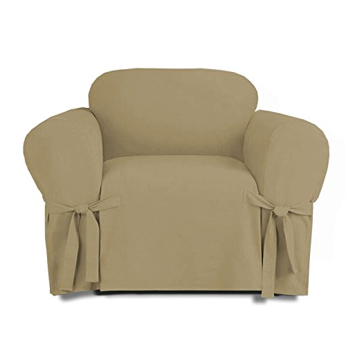 - Kashi Micro-Suede Slipcover Sofa Loveseat Chair Furniture Cover (Chair, Taupe)