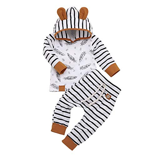 New Born Baby Girl Boy Hooded T Shirt Tops Feather Striped Pants Clothes Set