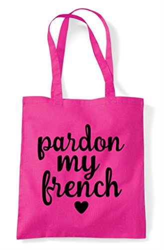 Bag Pardon Statement Fuschia Tote French Sweary Shopper My ACqAvwUO