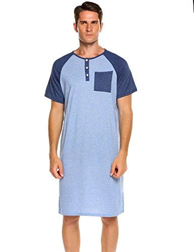 Ekouaer Men's Nightshirt Cotton Nightwear Comfy Big&Tall Short Sleeve Henley Sleep Shirt (C-Blue, XX-Large)