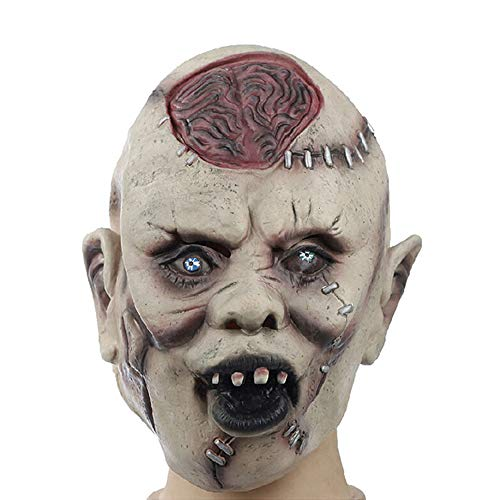 Halloween Horrific Demon Scary Blasting Brain Zombie Costume Party Latex Mask ()