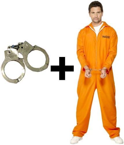 MFD Disfraz de Caldera Naranja + Esposas para Hombre, Disfraz de ...