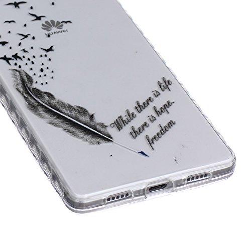 [Extremadamente Delgada] Funda 3D Silicona Transparent para Huawei P8 Lite ,Funda TPU Ultra Slim para Huawei P8 Lite , TOCASO Case Fina Slim Fit Cristal Clear, Transparent Slicona Clear Cover Glitteri Plumas de Aves