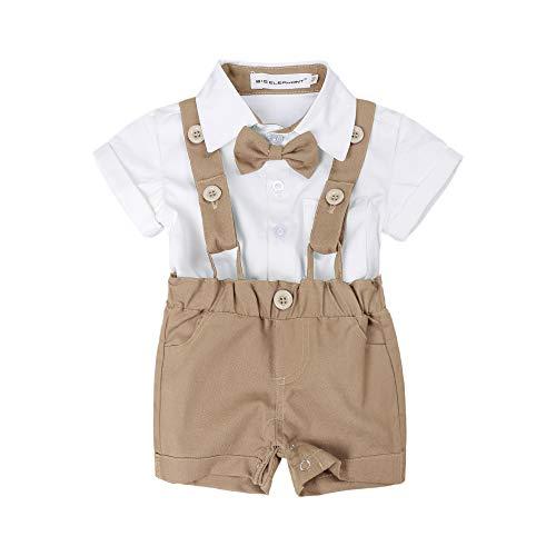 BIG ELEPHANT Baby Boys'2 Piece T-Shirt Suspender Shorts Clothing Set NA42 ()