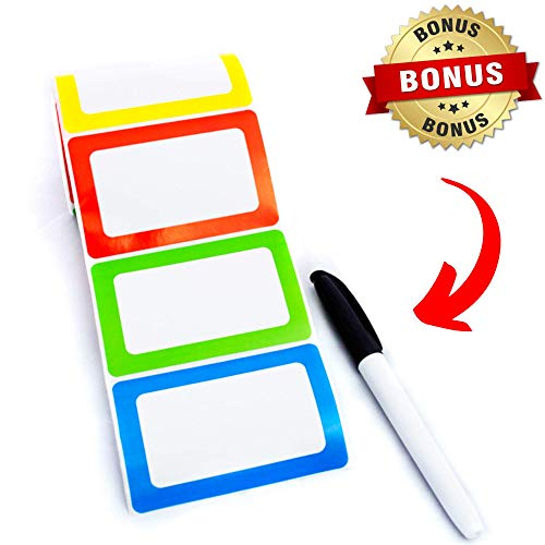 Name Tag Stickers Labels Colorful 250 Ct Adhesive Backed Rolls - 3.5