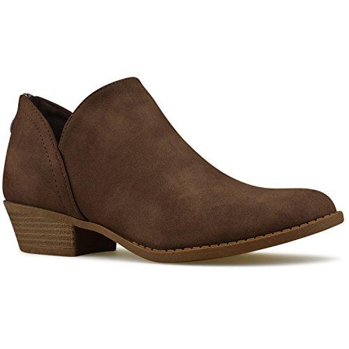 Premier Standard Women's Elastic Side Panel Ankle Bootie - Comfortable Closed Toe Shoe – Low Heel Casual Walking Boot Brown