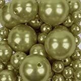 Koyal Wholesale 80 Piece Floating Pearl Beads Vintage Gold in Transparent Water Gels, Wedding Floating Candle Centerpieces