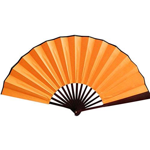 LARNOR Pattern Folding Dance Wedding Party Lace Silk Folding Hand Held Solid Color Fan 33cm. (Orange, E) ()