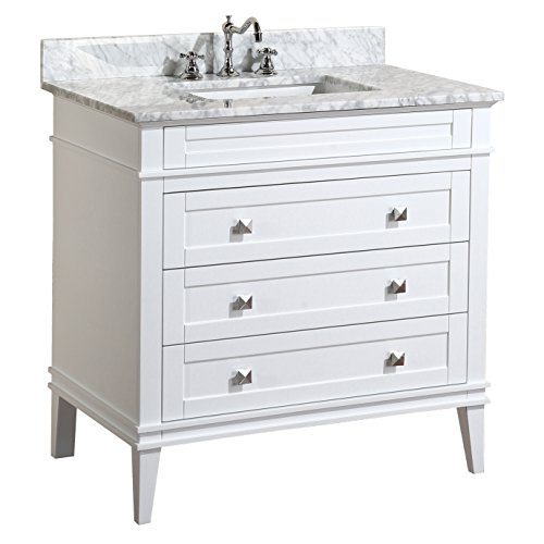 Kitchen Bath Collection KBC-L36WTCARR Eleanor Bathroom Vanity with Marble Countertop, Cabinet with Soft Close Function & Undermount Ceramic Sink, 36