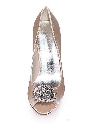 ShangYi Chaussures de mariage - Noir / Bleu / Rouge / Ivoire / Blanc / Argent / Champagne - Mariage / Soirée & Evénement - Bout Ouvert - Sandales , 3in-3 3/4in-silver