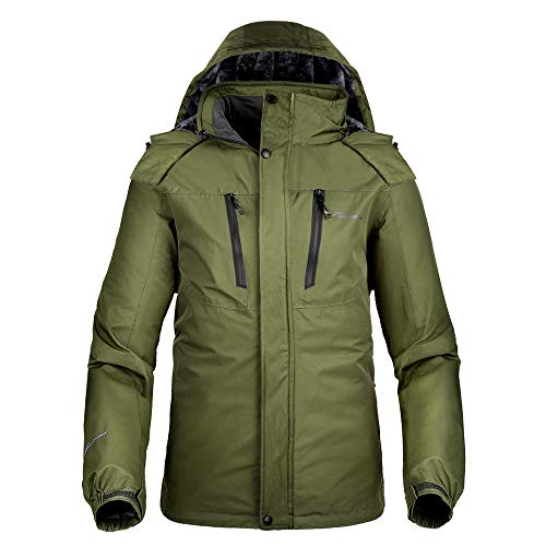 OutdoorMaster Men's Ski Jacket Basic - Winter Jacket with Elastic Powder Skirt & Removable Hood, Waterproof & Windproof (Olive Green,XL) (Best Brand For Winter Jackets In Usa)