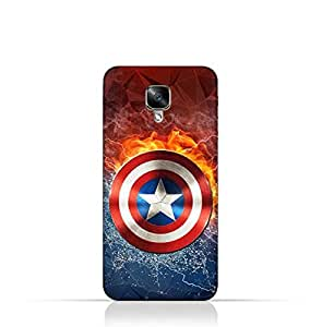 Oneplus 3 TPU Silicone Protective Case with Shield of Captain America Design