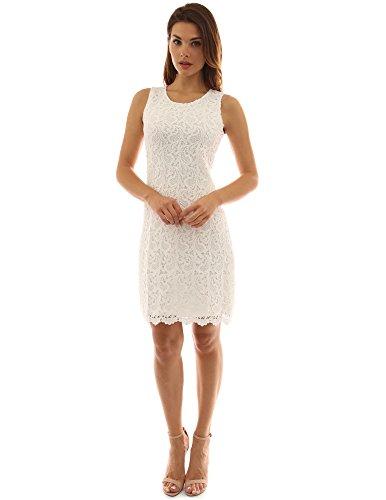 PattyBoutik Mujer cuello redondo vestido sin mangas de una línea de encaje blanquecino