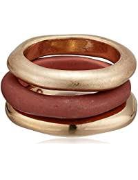 Women's Red Patina & Gold Sculptural Stackable Ring Set Size 7.5, One Size