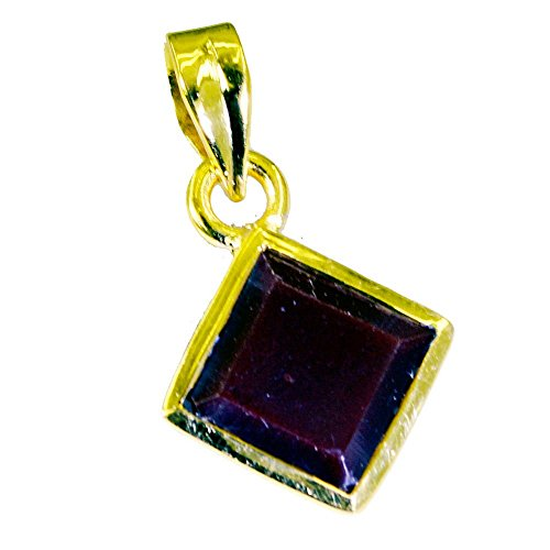 Gold Plated Ruby CZ Necklace For Women Pendant Astrological Handmade Charms Square Shape Design Beads
