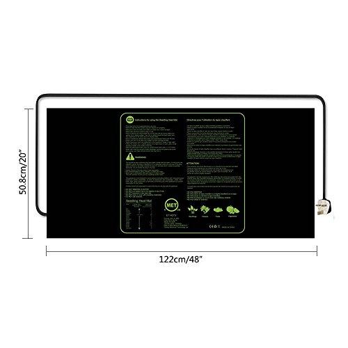 Aolvo - Alfombrilla de calefacción para semillas, IP67, impermeable, 122 x 50 cm, para germinación, calentamiento hidropónico, alfombra de calefacción para ...